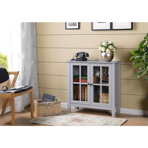 OS Home and Office Furniture OS Home and Office Dark Gray Glass Door Accent and Display Cabinet