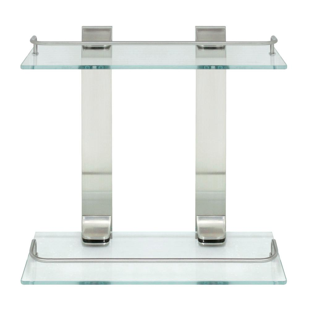 W double glass wall shelf with pre installed rails in satin