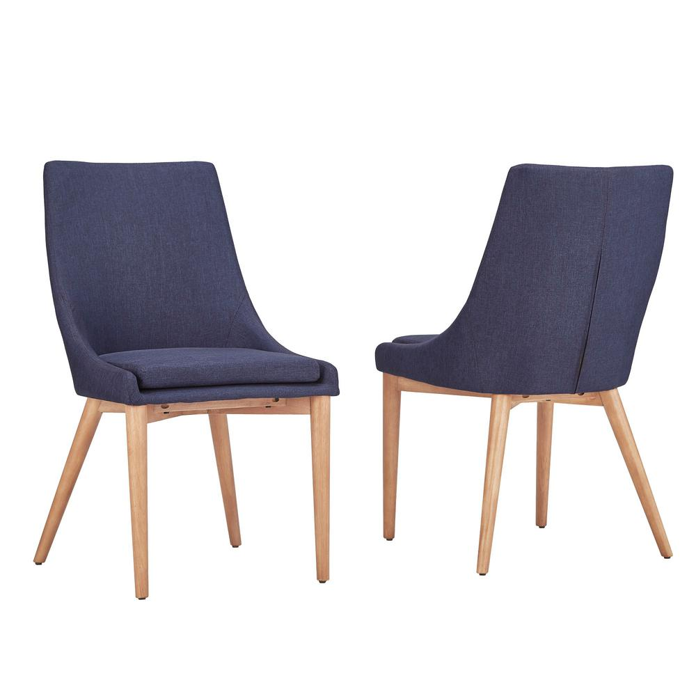 HomeSullivan Nobleton Twilight Blue Linen Dining Chair