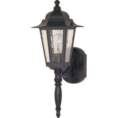 1-Light Outdoor Textured Black Incandescent Sconce Light