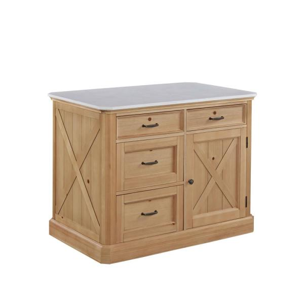 HOMESTYLES Country Lodge Pine Kitchen Island with Quartz Top
