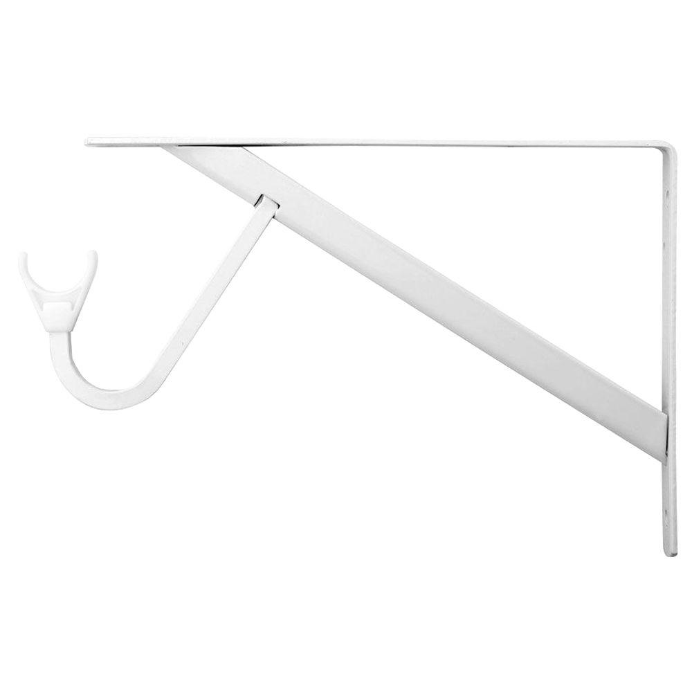 11-1/4 in. Heavy Duty White Shelf and Rod Bracket