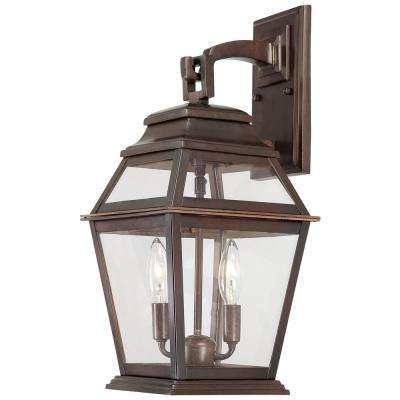 Crossroads Point 2-Light Architectural Bronze Outdoor Wall Mount Lantern