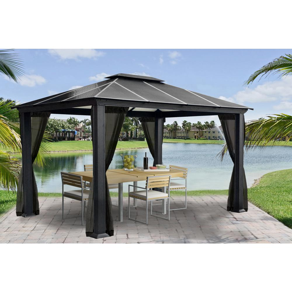 Paragon Outdoor Paragon 11 ft. x 13 ft. Aluminum Hard Top Gazebo with Mosquito Netting