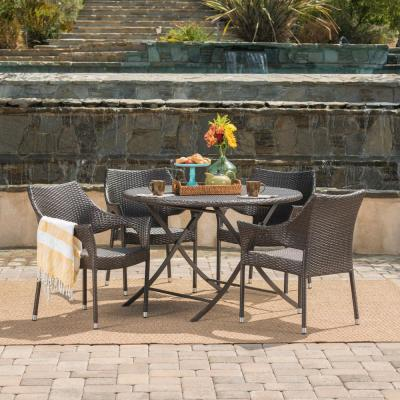Faith Multi-Brown 5-Piece Wicker Round Outdoor Dining Set with Foldable Table and Stacking Chairs
