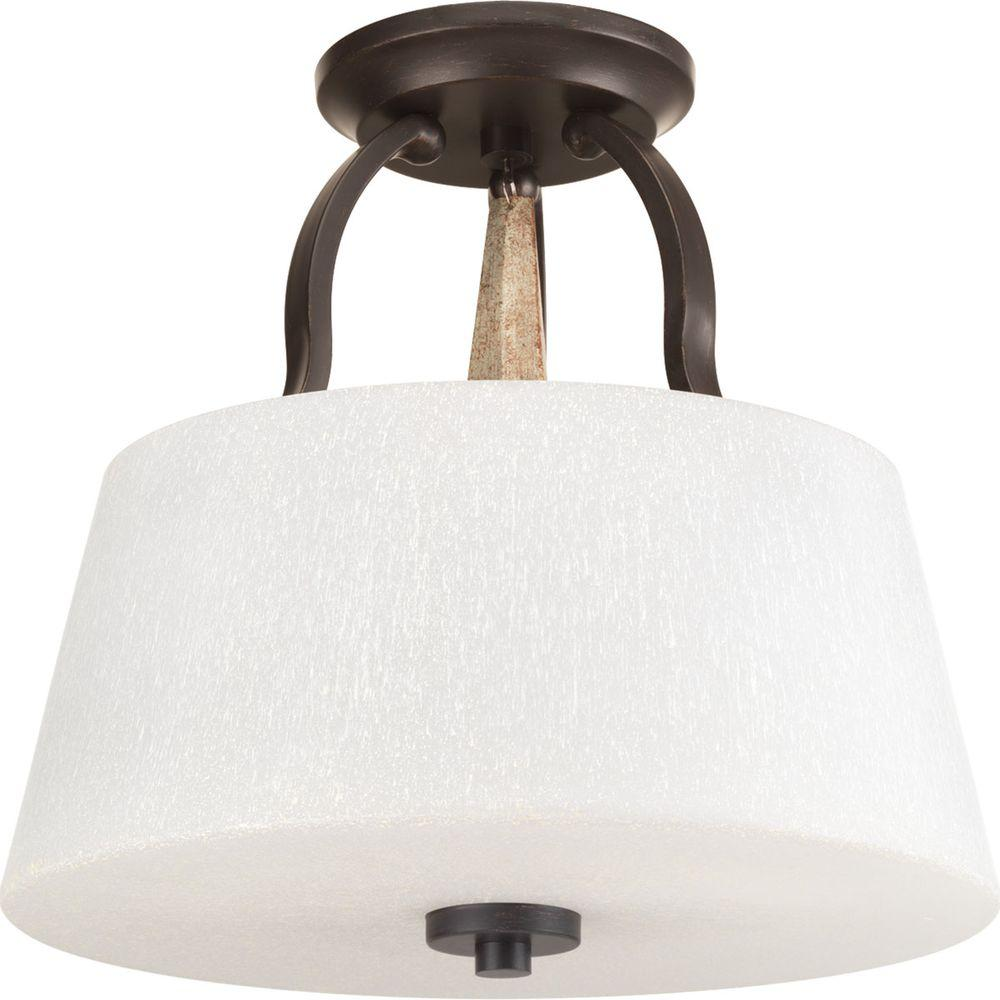 Club Collection 3-Light Antique Bronze Semi-Flush Mount Light