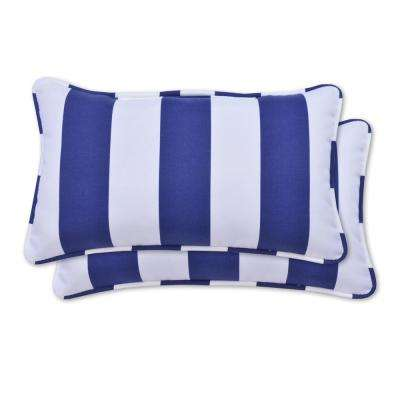 Navy Cabana Rectangle Lumbar Outdoor Throw Pillow (2-Pack)