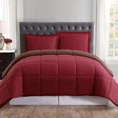 Everyday Reversible Comforter Set 3-Piece Burgundy and Brown Full and Queen Comforter with 2 Shams