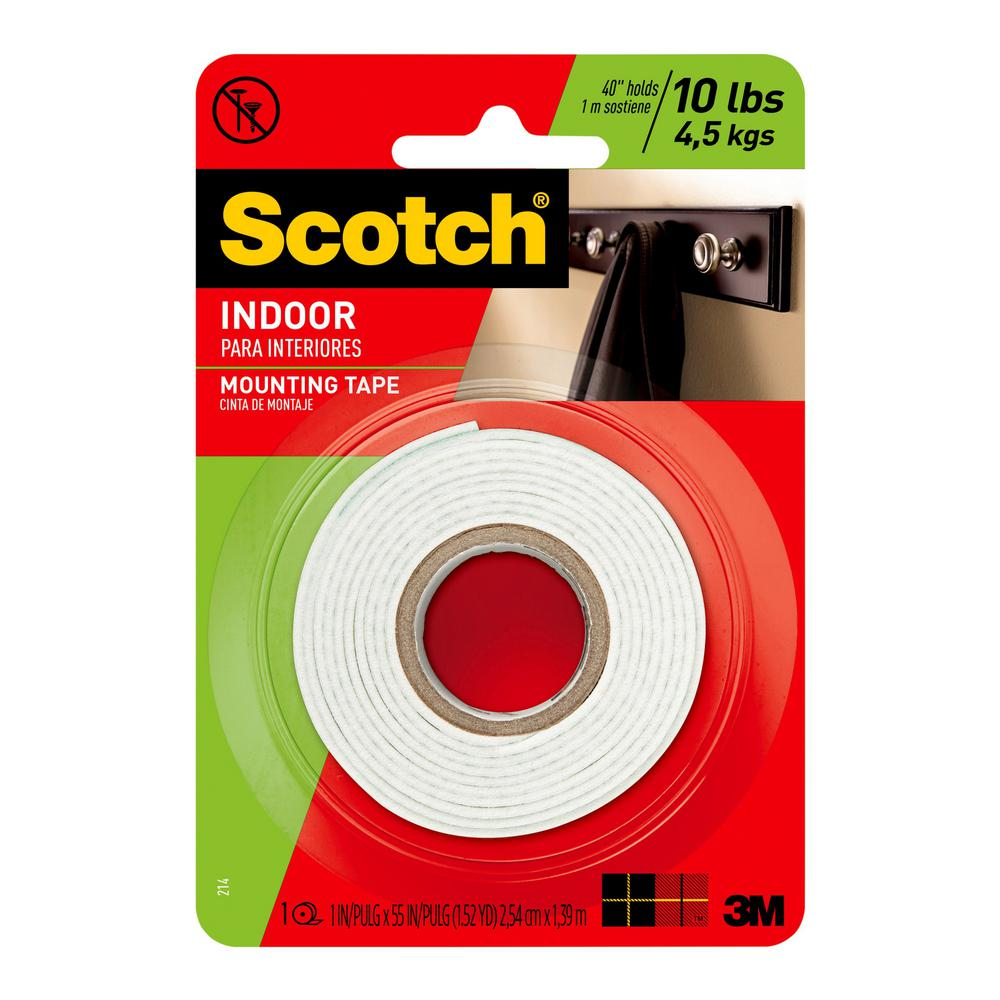 3M 1 in. x 1.52 yds. Permanent Double Sided Indoor Mounting Tape