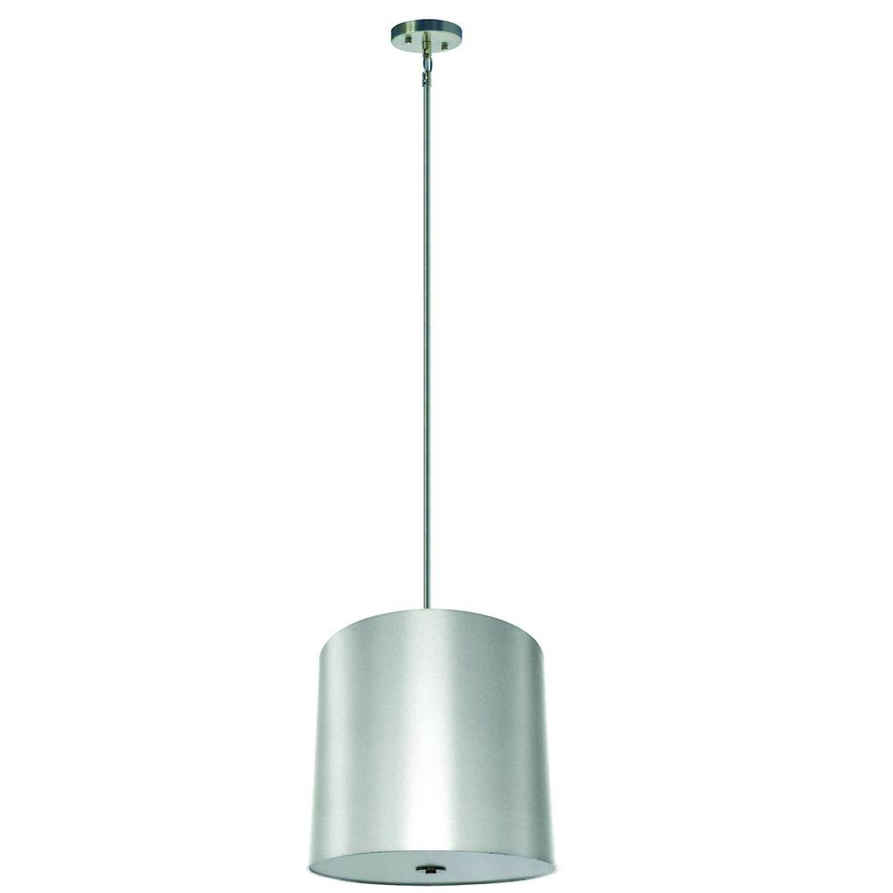 Yosemite Home Decor Lyell Forks Family 5-Light Satin Steel Pendant with Pristine White Fabric Shade