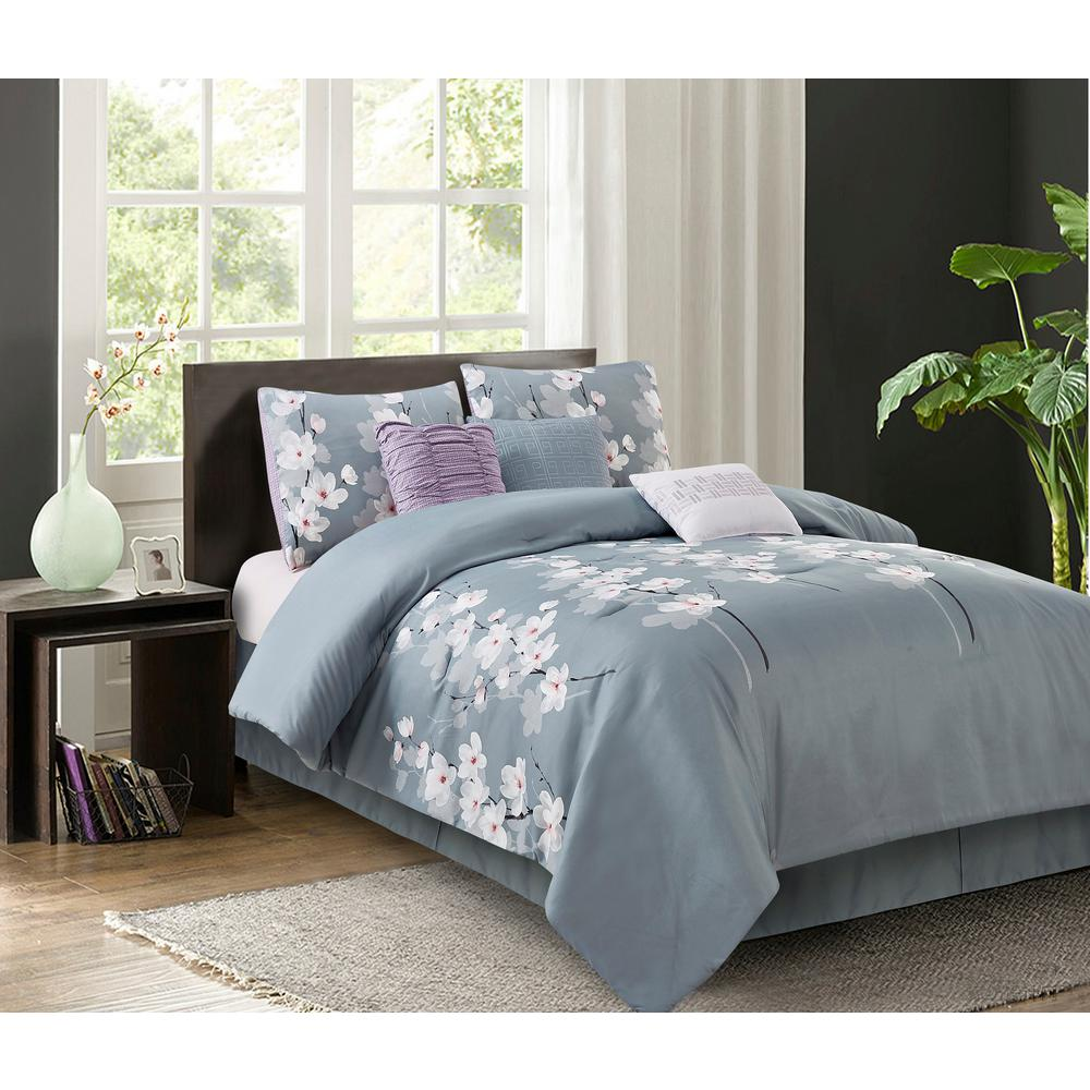 Izalia Isabel 7-Piece Grey King Comforter Set