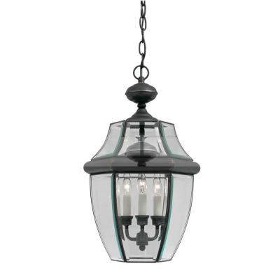 3-Light Outdoor Royal Bronze Pendant with Clear Beveled Glass Panels