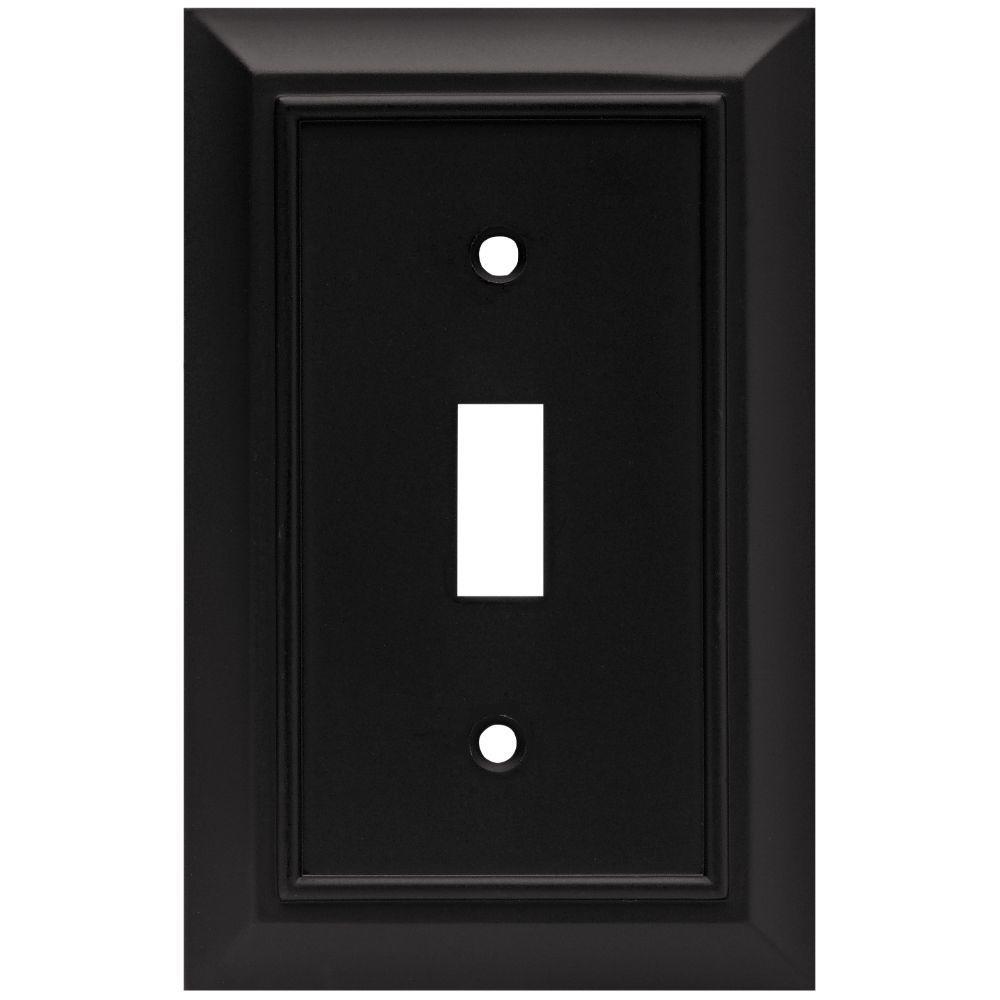 Architectural Decorative Single Switch Plate, Flat Black