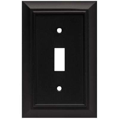 Architectural Decorative Single Switch Plate, Flat Black