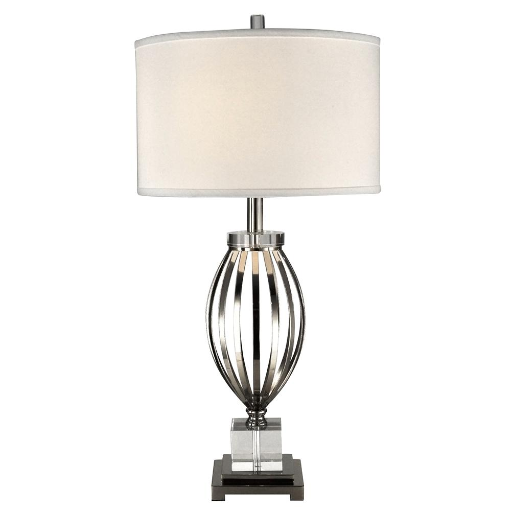 Dale tiffany 29 in bird cage crystal polished nickel finish table bird cage crystal polished nickel finish table lamp with fabric shade geotapseo Image collections