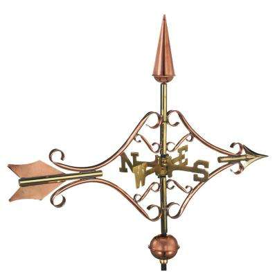Victorian Arrow Cottage Weathervane - Pure Copper with Roof Mount