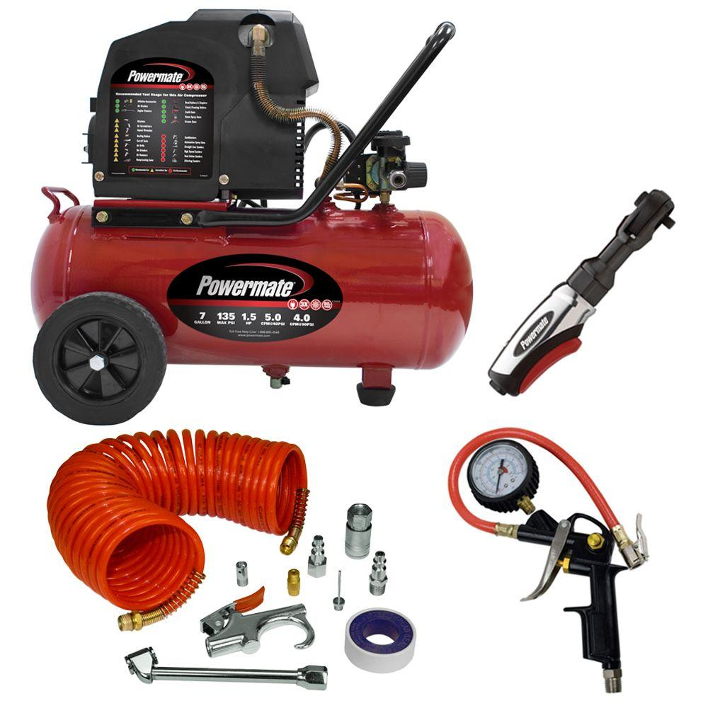 Powermate 7-Gal. Horizontal Portable Air Compressor with Accessories