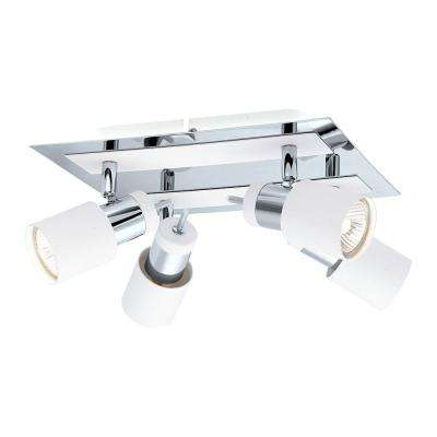 Davida 4-Light Chrome and White Semi-Flushmount Light