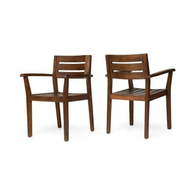 Hugo Dark Brown Slatted Wood Outdoor Dining Chair (2-Pack)