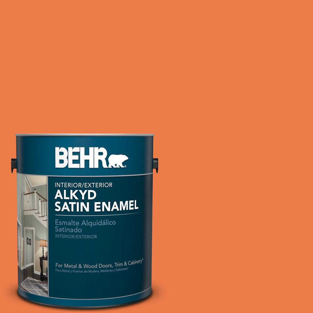 1 gal. #P200-6 Sizzling Sunset Satin Enamel Alkyd Interior/Exterior Paint