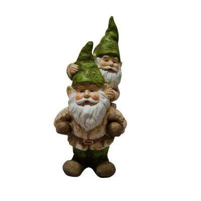 2 Gnomes Playing Garden Statue
