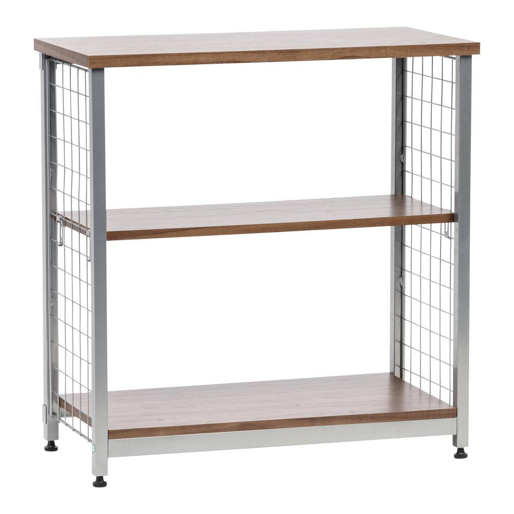 Brown 2-Tier Wide Open Mesh Wood-Top Shelf