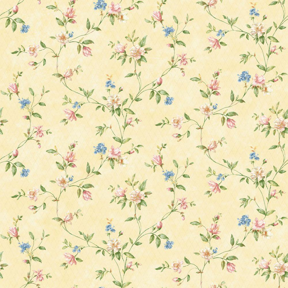 The Wallpaper Company 56 sq. ft. Pastel Romantic Floral Trail Wallpaper