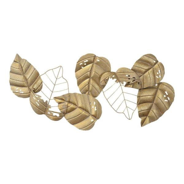 Homeroots Gold Metal Leaf Centerpiece Wall Decor 373380 The Home Depot