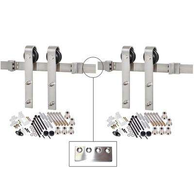 157-1/2 in. Stainless Steel Bent Strap Barn Door Hardware Kit