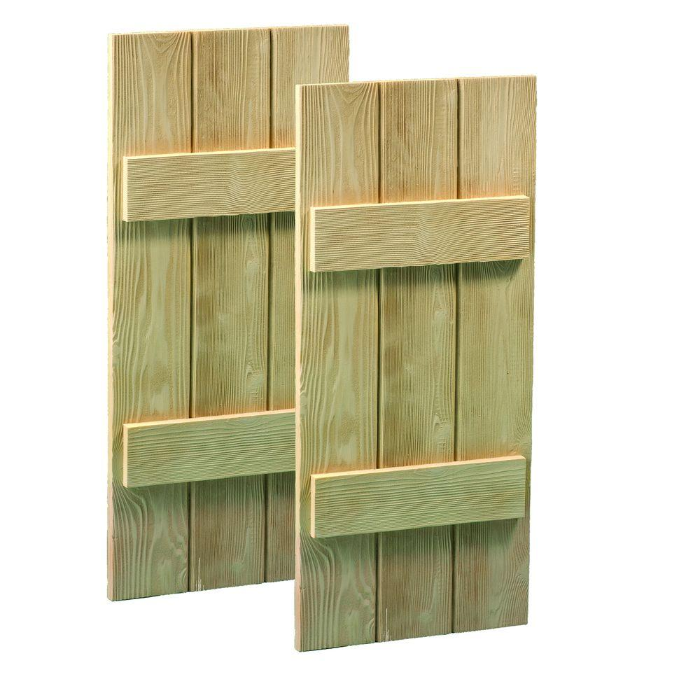 Fypon 60 in. x 18 in. x 1-1/2 in. Polyurethane Timber Plank Shutters Pair