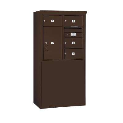 3900 Horizontal Series 4-Compartment 1-Parcel Locker Free Standing Mailbox