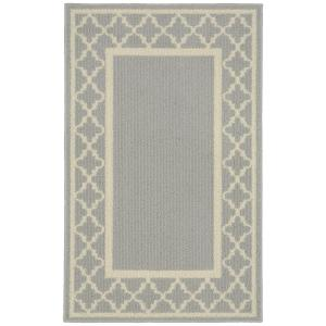 Garland Rug Moroccan Frame Silver/Ivory 2 ft. 6 inch x 3 ft. 10 inch Accent Rug by Garland Rug
