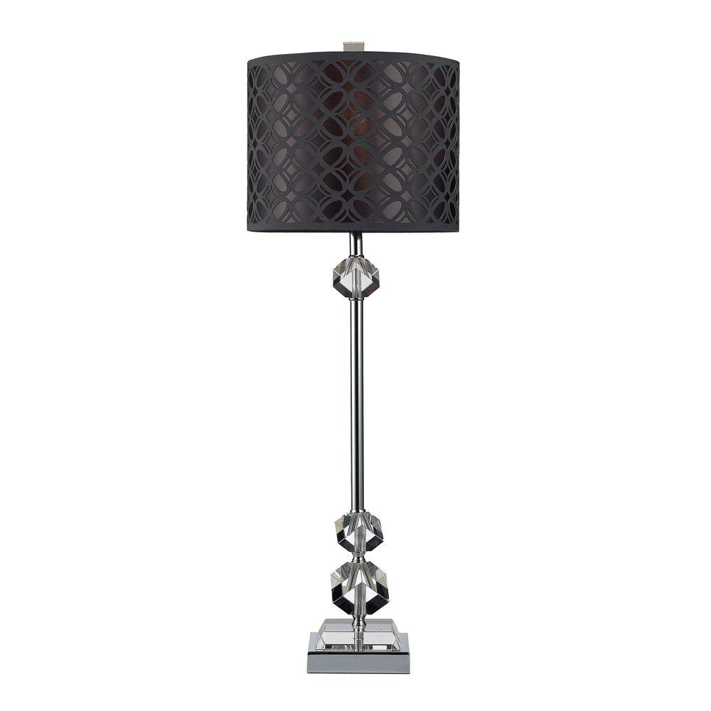 Titan lighting chamberlain 29 in chrome table lamp and clear titan lighting chamberlain 29 in chrome table lamp and clear crystal with laser cut shade tn 999896 the home depot geotapseo Images