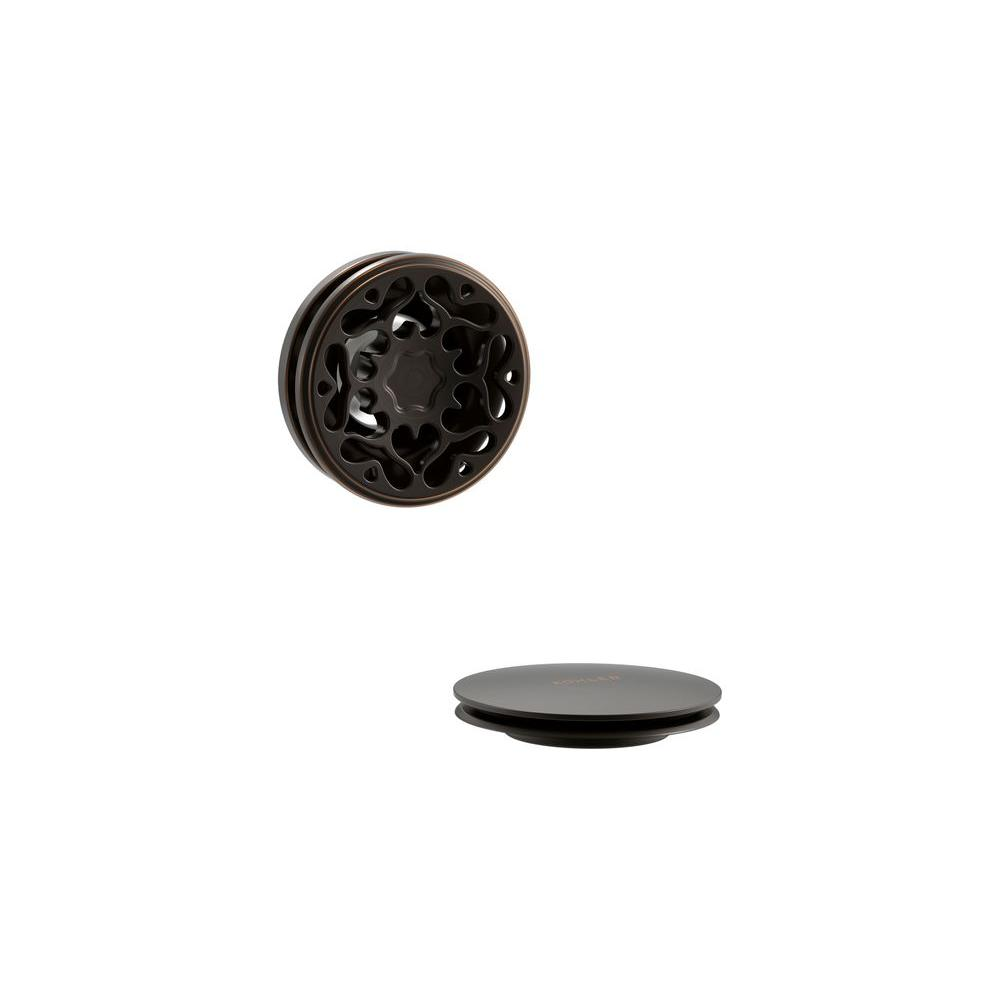 KOHLER PureFlo Cable Bath Drain Trim with Victorian Push Button Handle, Oil-Rubbed Bronze