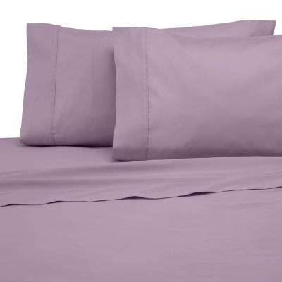 Solid Color T300 4-Piece Lilac Cotton King Sheet Set