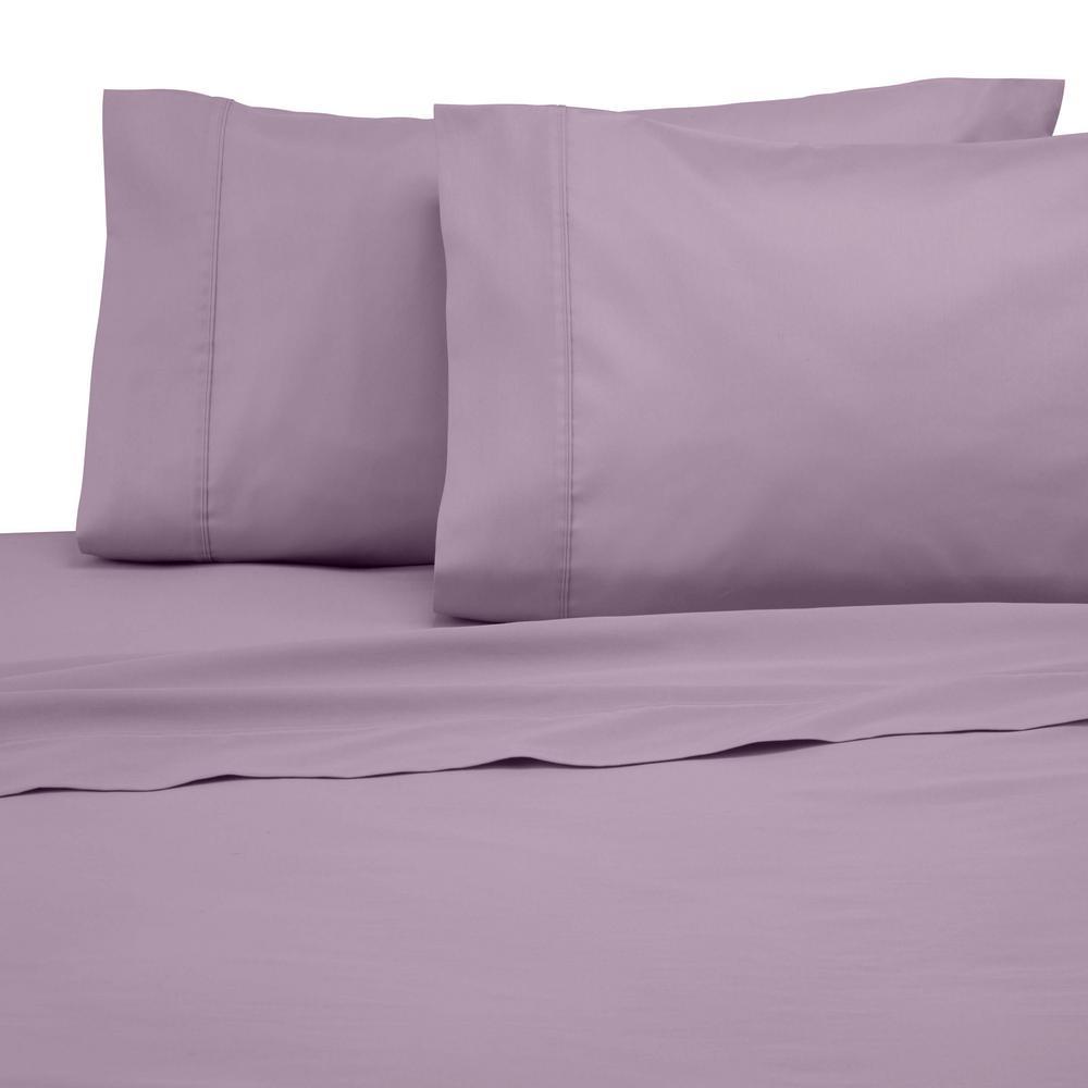 Solid Color T300 4-Piece Lilac Cotton Queen Sheet Set