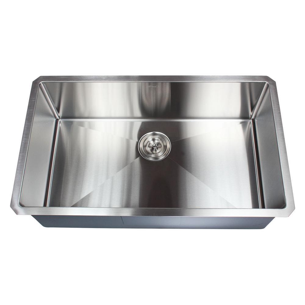 32 in. x 19 in. x 10 in. 16-Gauge Stainless Steel Undermount Single Bowl Kitchen Sink