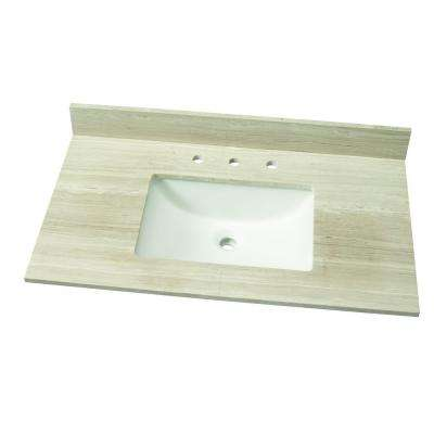 W Marble Single Vanity Top In White Oak With White Basin