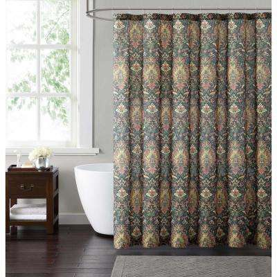 Cambridge 72 in. Black and Gold and Red Shower Curtain