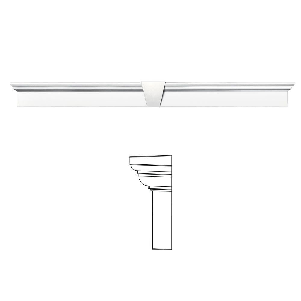 6 in. x 65-5/8 in. Flat Panel Window Header with Keystone