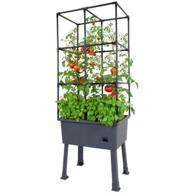 Patio Ideas - 15.75 in. x 23.5 in. x 63 in. Self-Watering Raised Garden Bed with Trellis and Greenhouse Cover