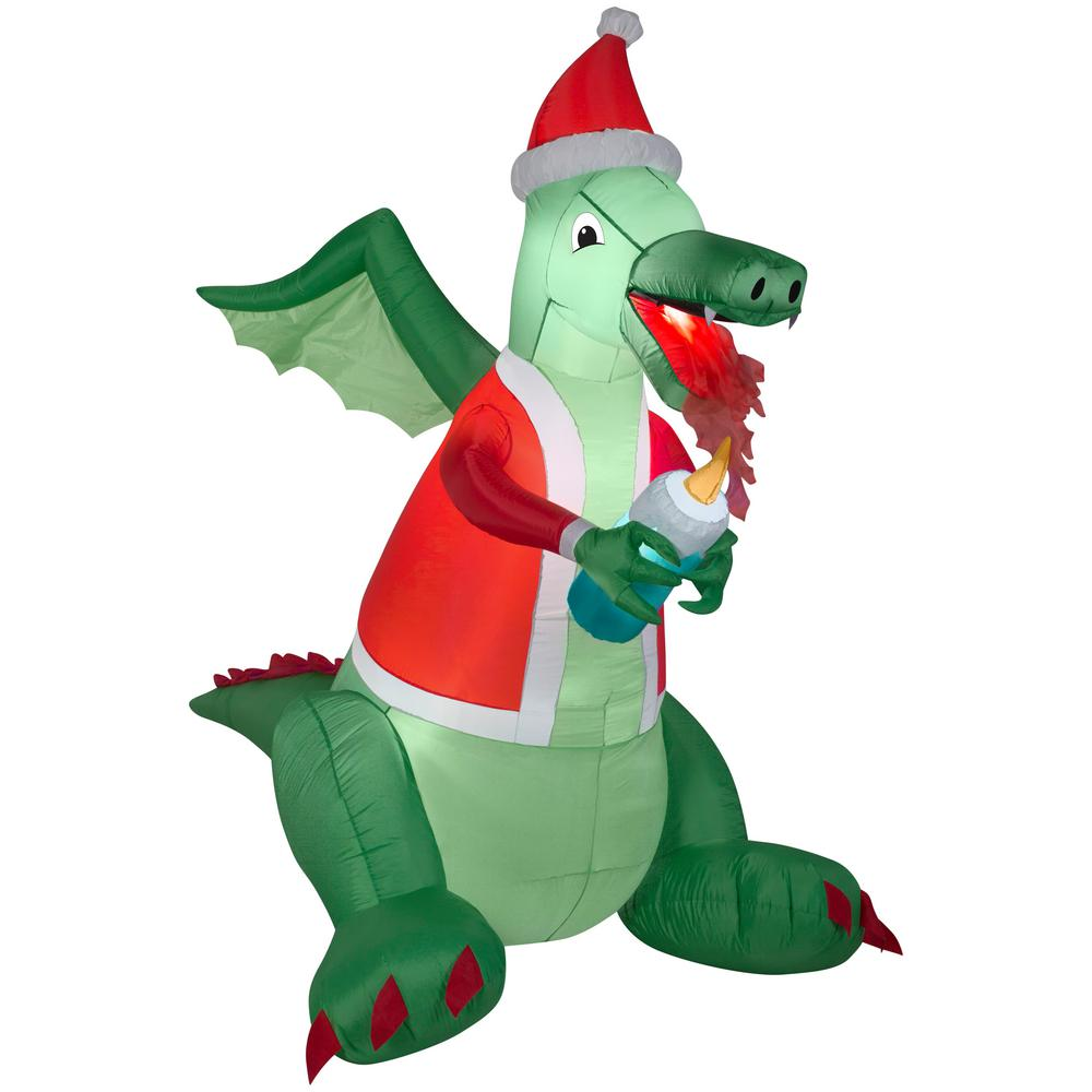 Christmas Dragon.Gemmy 6 75 Ft Dragon Lighting Candle Christmas Inflatable