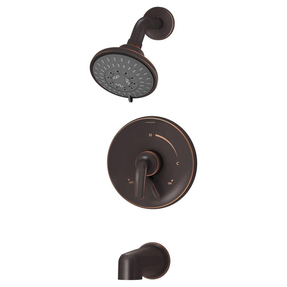 Symmons Elm 1-Handle 3-Spray Tub and Shower Faucet in Seasoned Bronze (Valve Included)