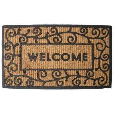 Light Swirls Welcome 18 in. x 30 in. Natural Coir and Rubber Door Mat