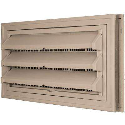 9-3/8 in. x 17-1/2 in. Foundation Vent Kit with Trim Ring and Optional Fixed Louvers (Galvanized Screen) in #023 Wicker