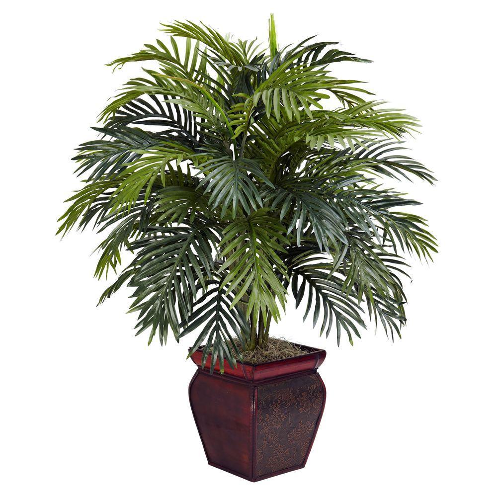 H Green Areca With Decorative Planter Silk Plant