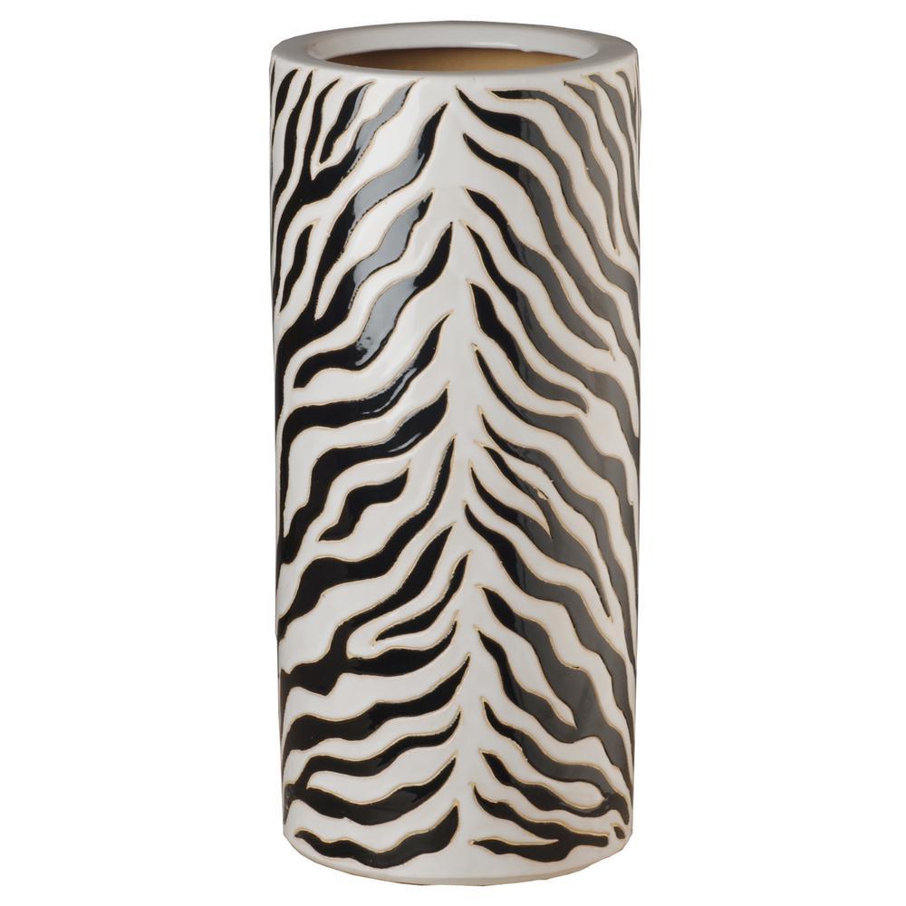 Zebra, Black and White Ceramic Umbrella Stand