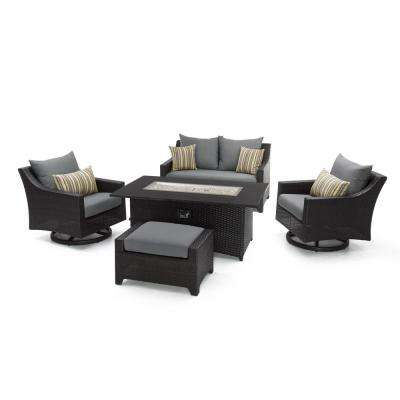 Deco Motion 5-Piece Wicker Patio Fire Pit Conversation Set with Sunbrella Charcoal Grey Cushions