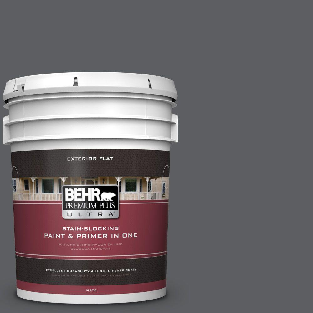 BEHR Premium Plus Ultra 5-gal. #N500-6 Graphic Charcoal Flat Exterior Paint