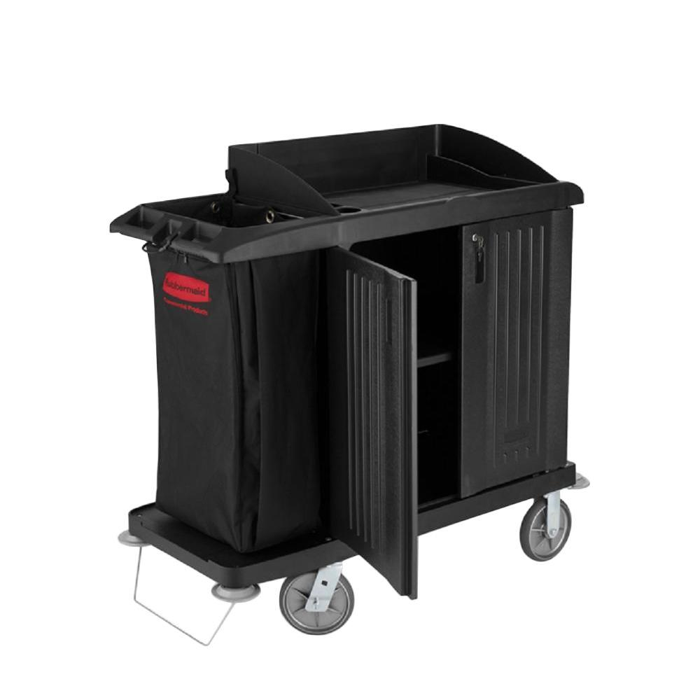 Go Home Black Industrial Kitchen Cart At Lowes Com: Rubbermaid Commercial Products Compact Housekeeping Cart